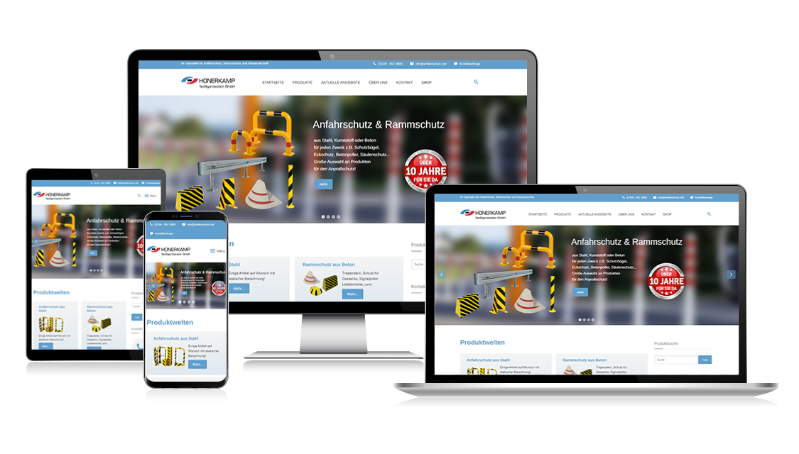 Website HONERKAMP Facilityprotection GmbH